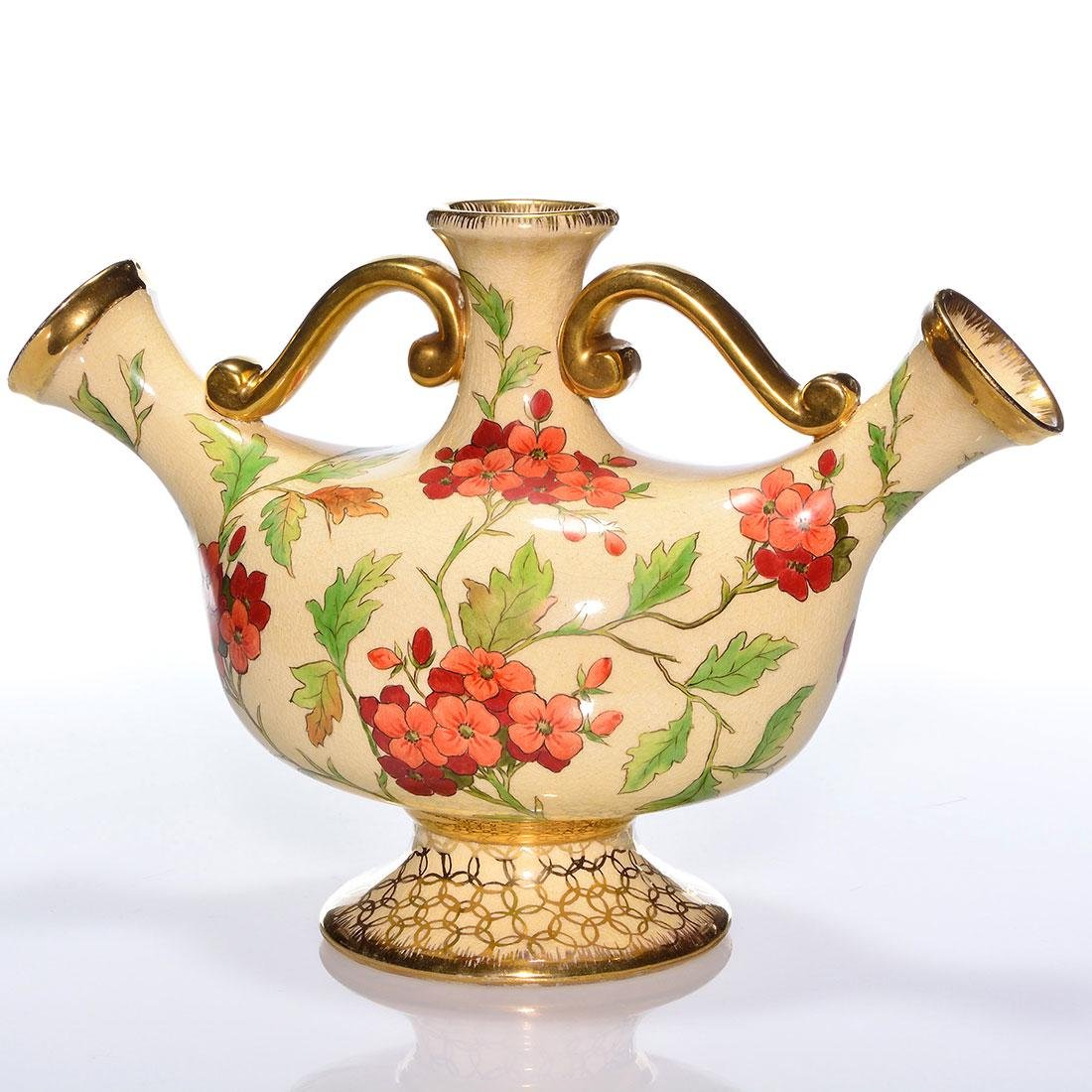 Cincinnati Art Pottery triple spout jug, red flowers, 9 - 2