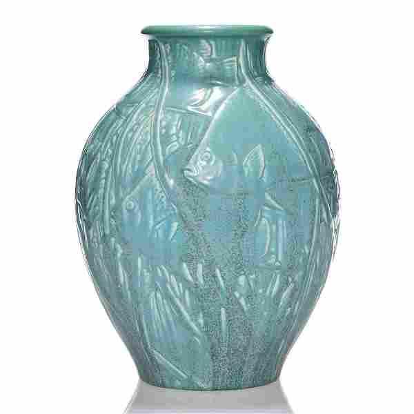 """Rookwood Production vase, fish, 1930, 11"""", 6091"""
