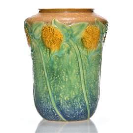"""Roseville Sunflower vase, shape 492-10, 10 1/8"""""""