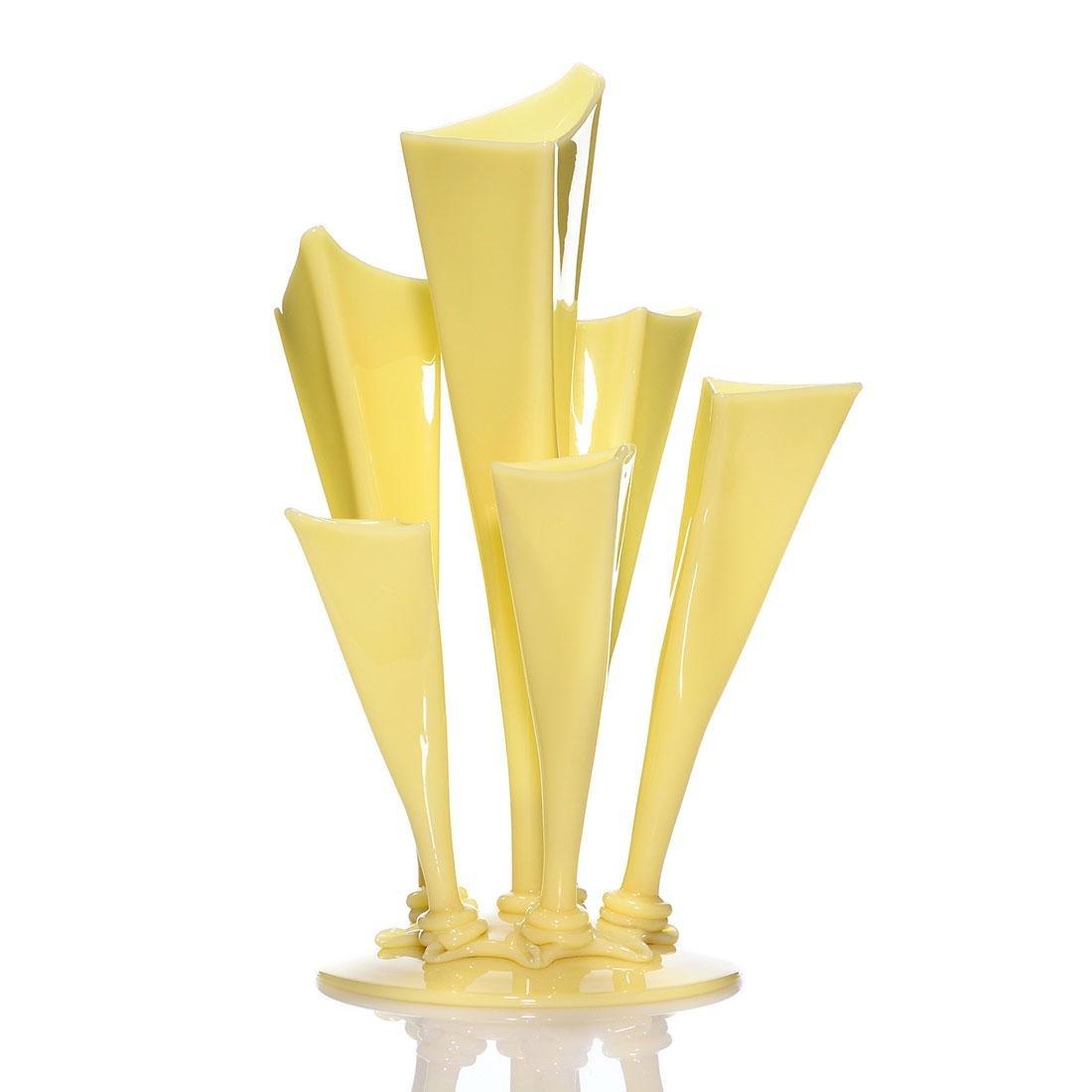 """Steuben Ivory 6 prong vase, shape 7129, 15 1/2"""""""