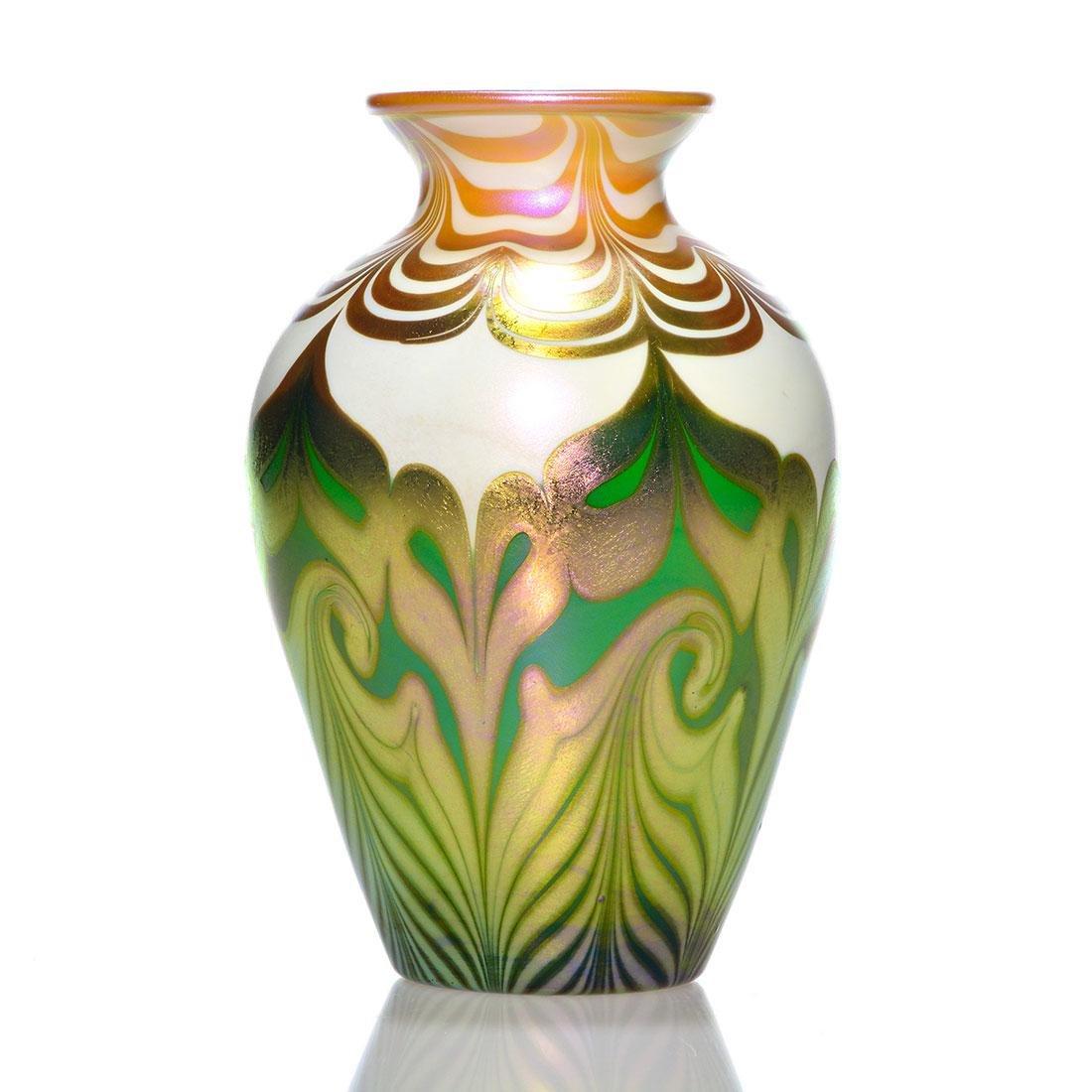 "Quezal vase, triple design, oyster, emerald, 7 1/8"""