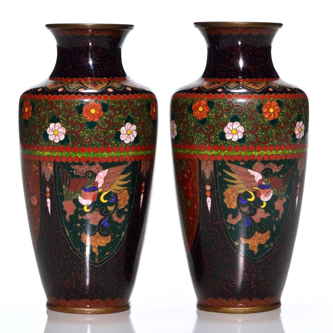Pr Chinese Cloisonne miniature vases, gold, 4 3/4""