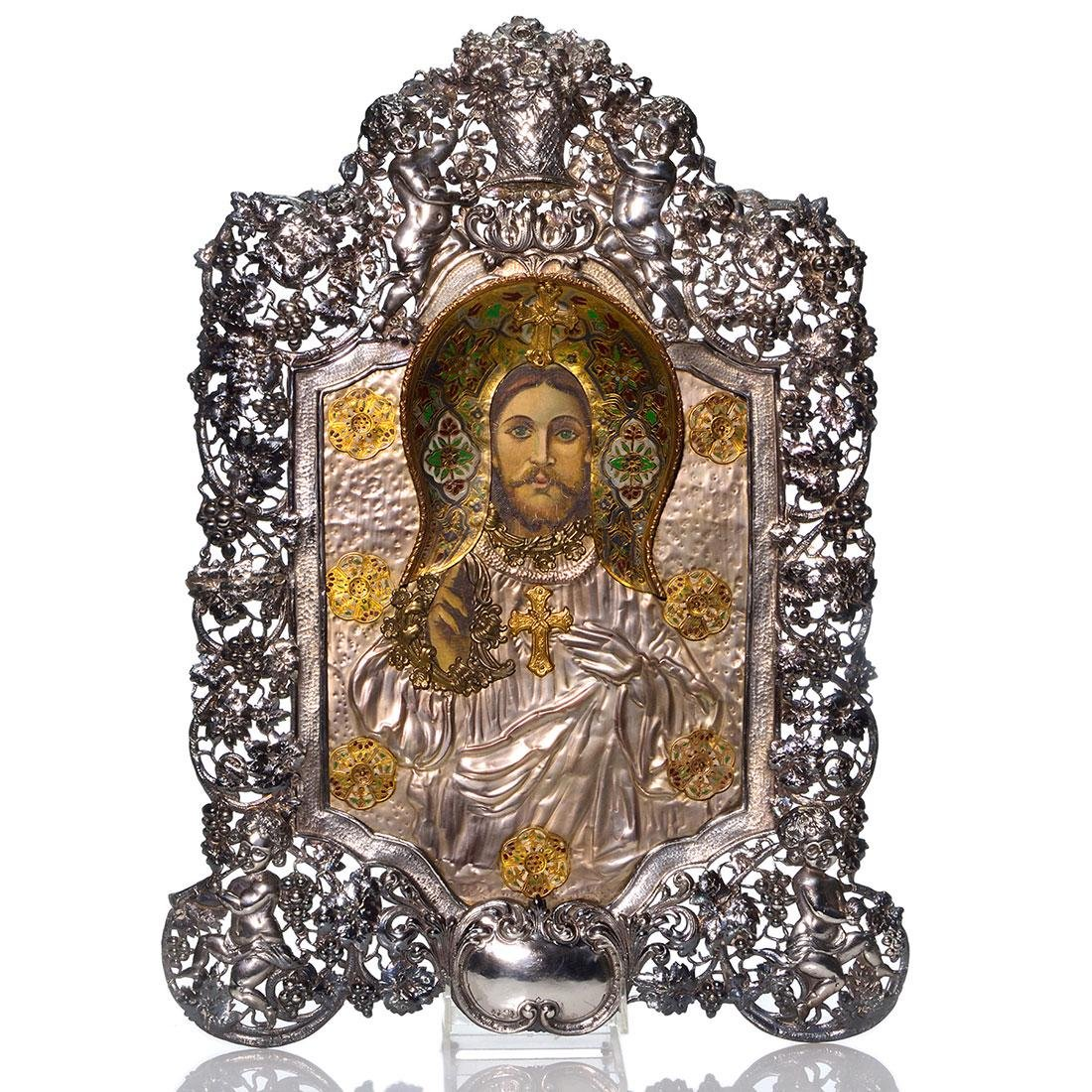 Icon, Sacred Heart Christ, silvered pierced frame, 21""
