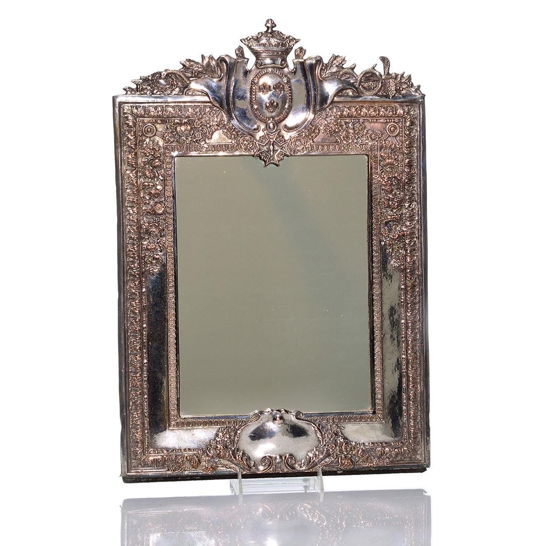 Russian-style silvered frame, mirror, serpents, 21""