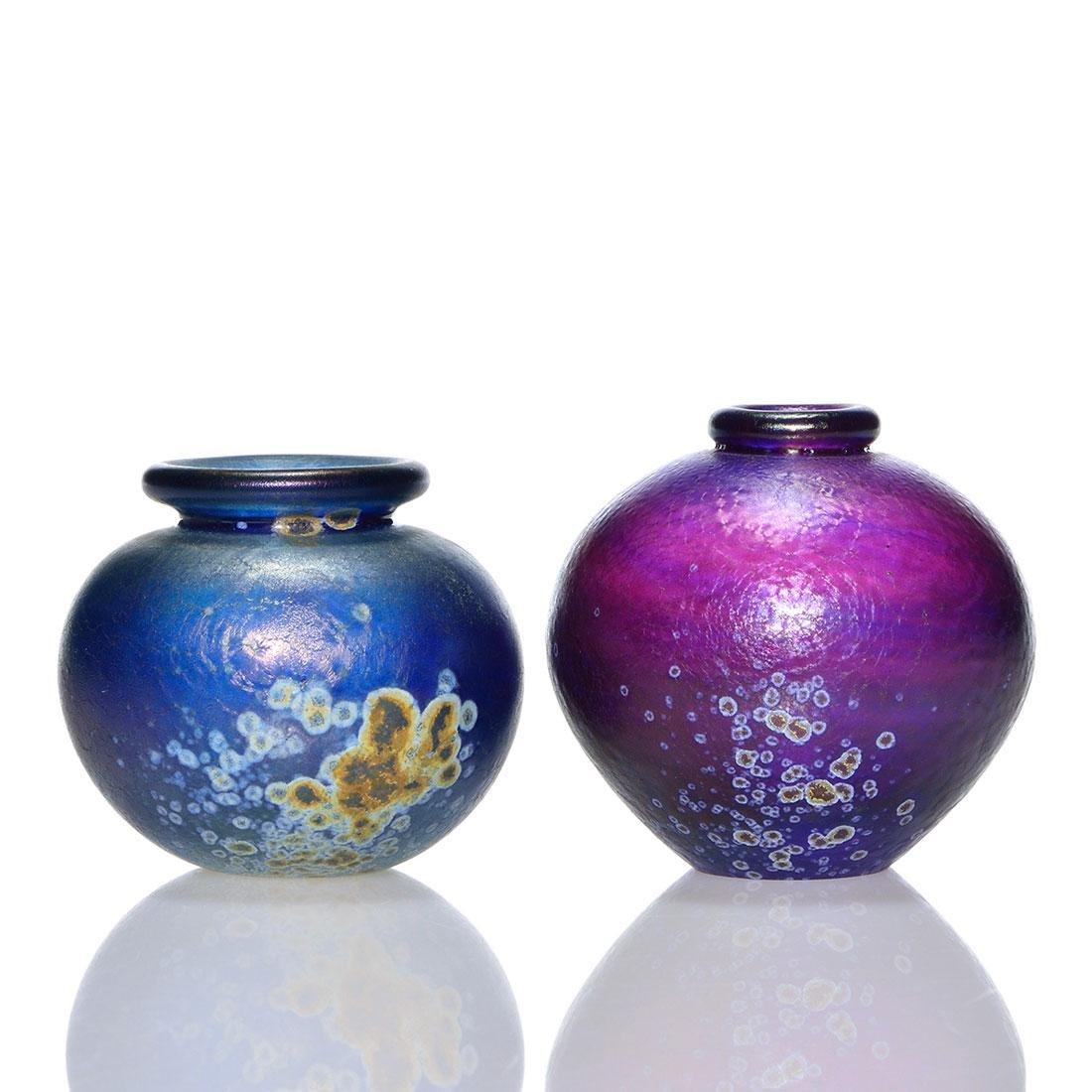 """2 early Mark Peiser miniature vases, 1969, 2 5/8"""""""