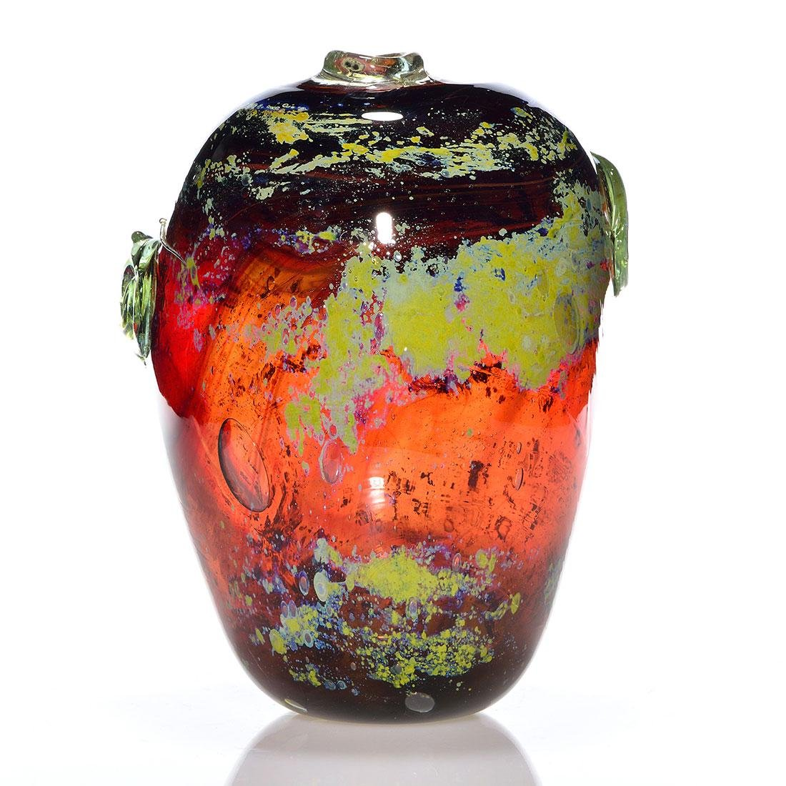 """Early James L. Tanner blown glass vase, 1967, 10"""" - 2"""