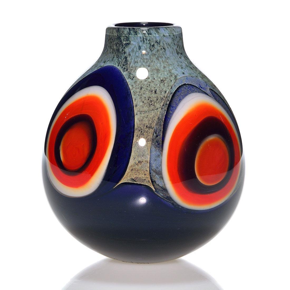 """William Carlson vase, orange bullseyes, 7"""", signed"""
