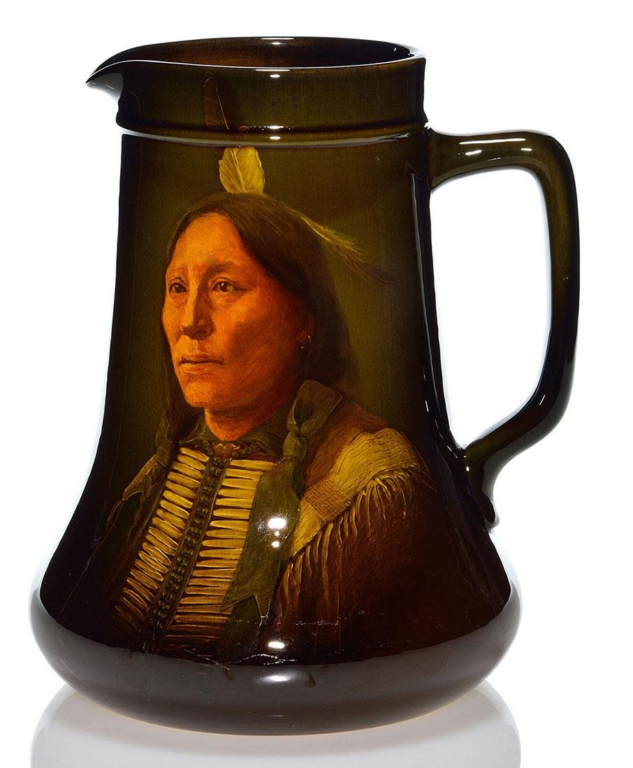 """Rookwood Standard pitcher,Indian,Laurence, 1899, 9 1/2"""""""