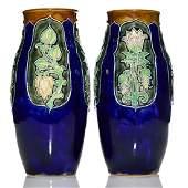 """Pr Royal Doulton Art Nouveau vases, tulips, 10"""","""