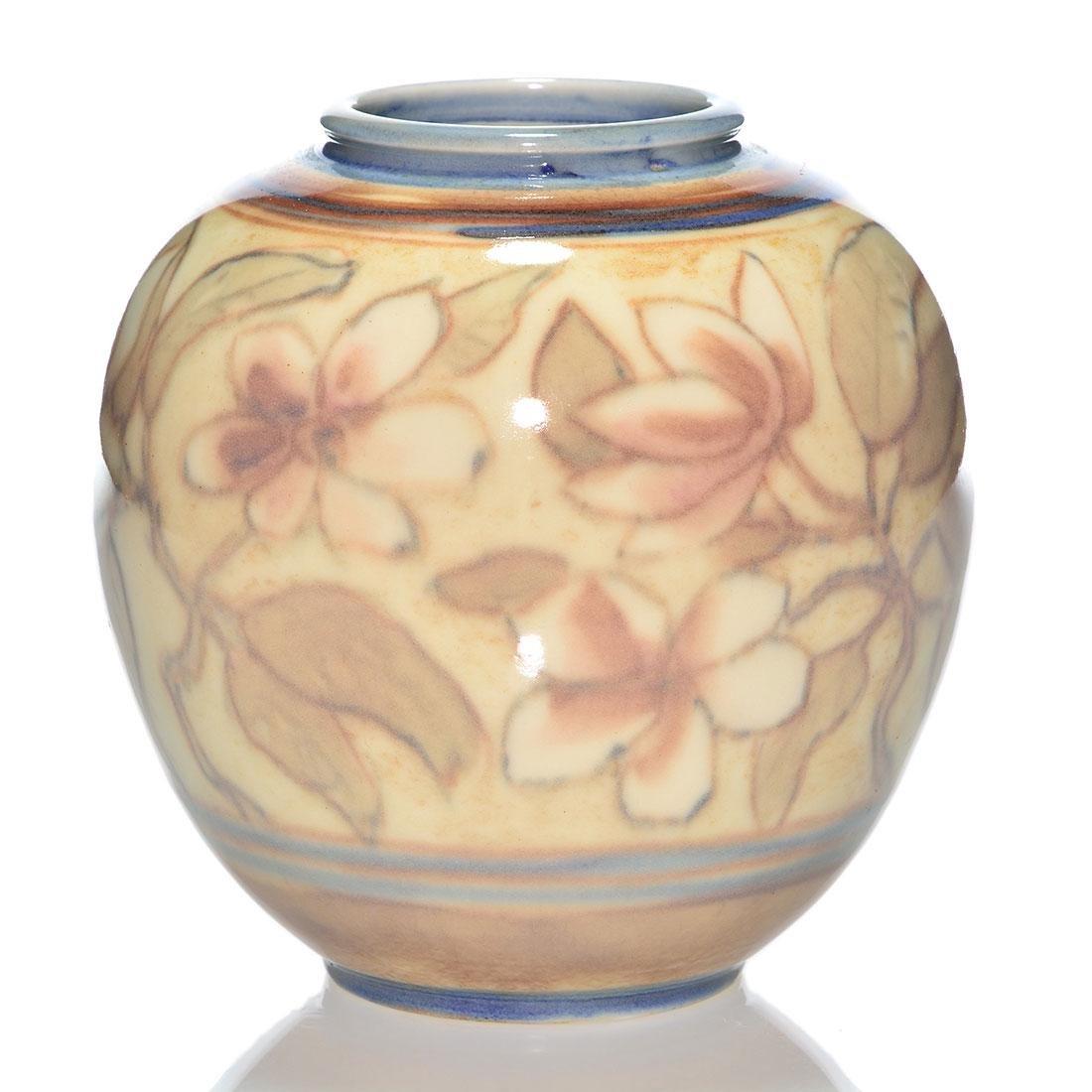"""Rookwood Porcelain, floral, Jensen, '42, 7 1/4"""""""