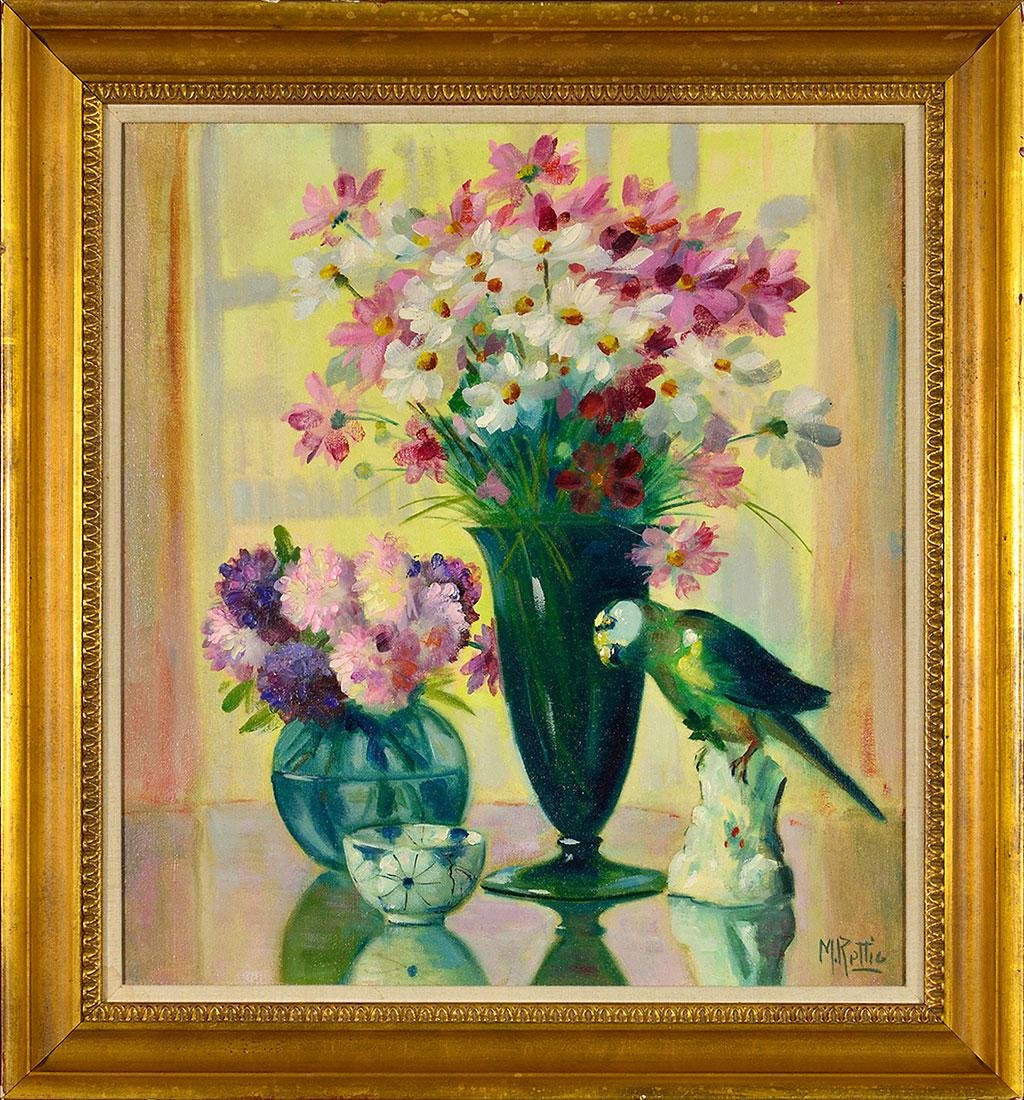 Martin Rettig still life painting, parrot & flowers