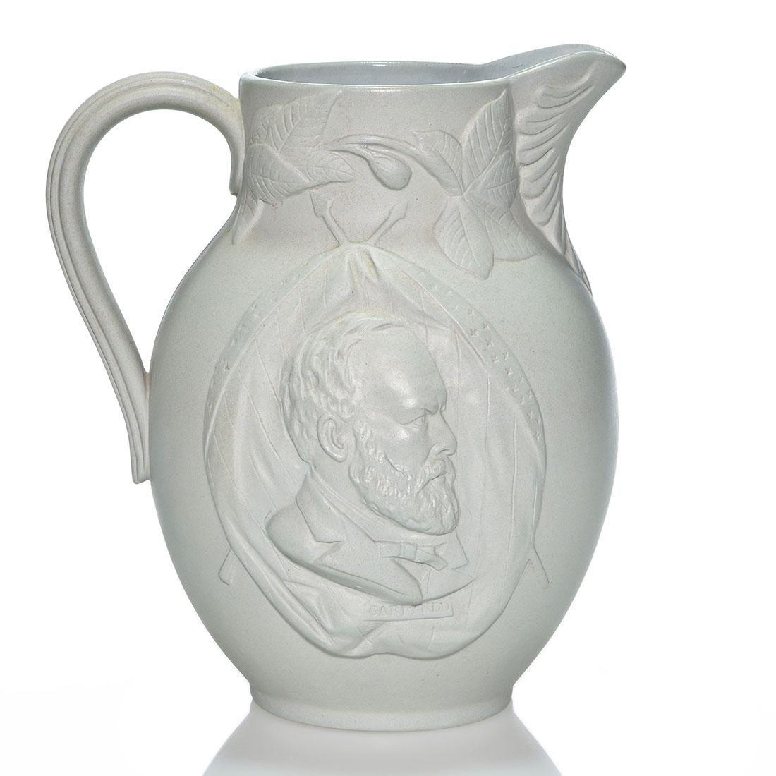 "Rare Rookwood Garfield memorial pitcher, 1881, 10"""