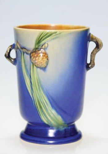 "3: Roseville Pine Cone 2 handled vase, blue, 7 1/8"""
