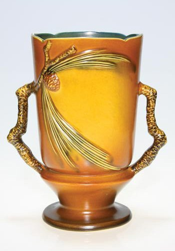 "4: Roseville Pine Cone vase, brown, 910-10"", 10"""
