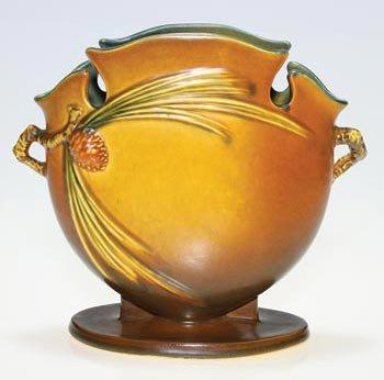 "5: Roseville Pine Cone pillow vase, brown, 845-8"","