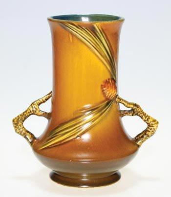 6: Roseville Pine Cone vase in brown, 842-8