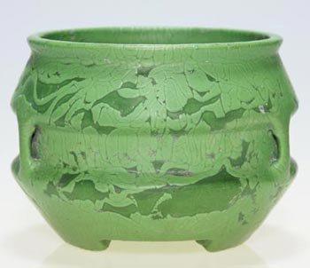 """11: Roseville Egypto-Matt Green vase, 4 1/2"""""""
