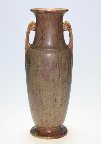 "14: Roseville Carnelian II vase, rose, 18 1/4"""