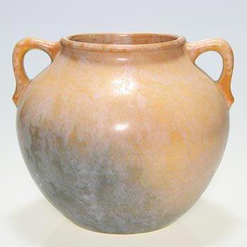 """18: Roseville Earlam vase, tan, blue, 521-7"""""""