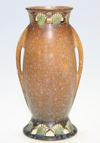 19: Roseville Ferrella vase in tan, shape 507-9.