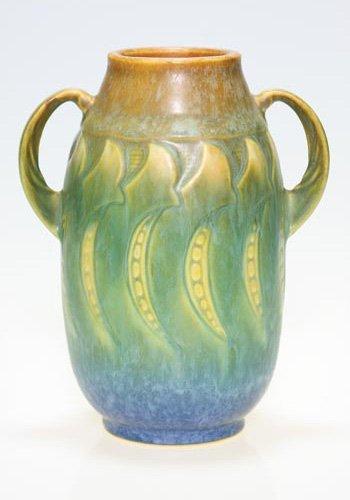 """20: Roseville Falline vase in blue, shape 643-6"""""""