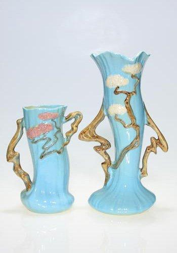"""21: Two Roseville Ming Tree vases, tallest, 12 1/2"""""""