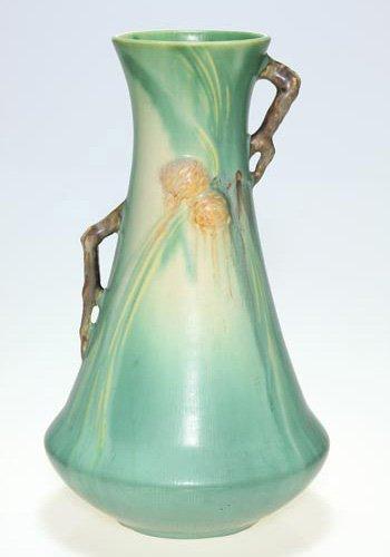 24: Roseville Pine Cone vase, green, 712-12