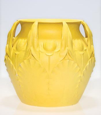 "207: Teco yellow mat vase, applied handles, 9"""