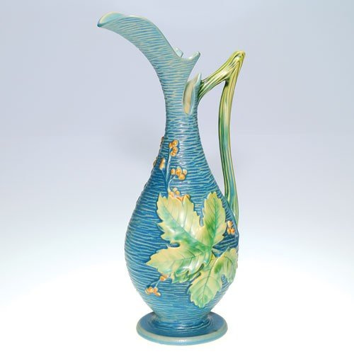 "Roseville Bushberry ewer in blue, shape 3-15""."