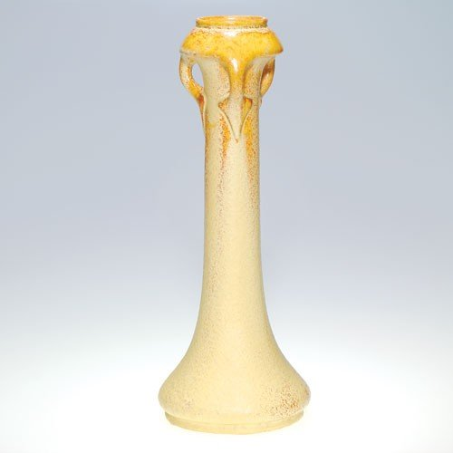 Roseville Crystalis vase, three handles, yellow crystal