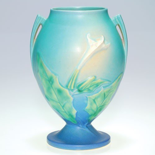 "Roseville blue Thornapple 9 1/2"" vase, shape 820-9."