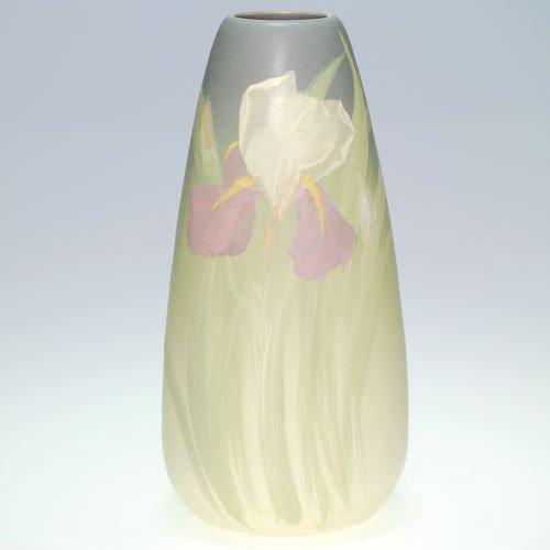 """Weller Hudson Light 11"""" vase with irises"""