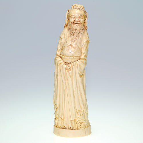"Ivory-like priest figure, 12 3/4"", artist signed,"
