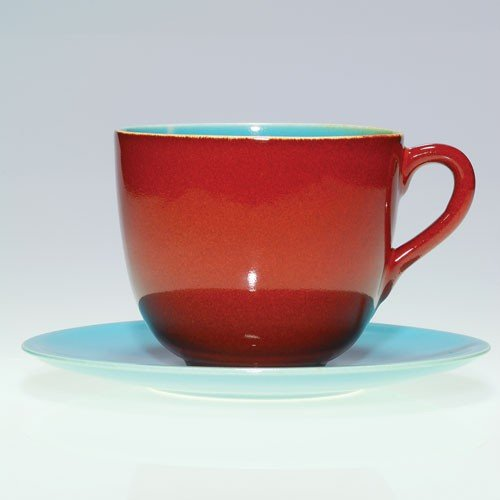 Rookwood #2816 cup + saucer, 1950, maroon & blue,4 1/4""
