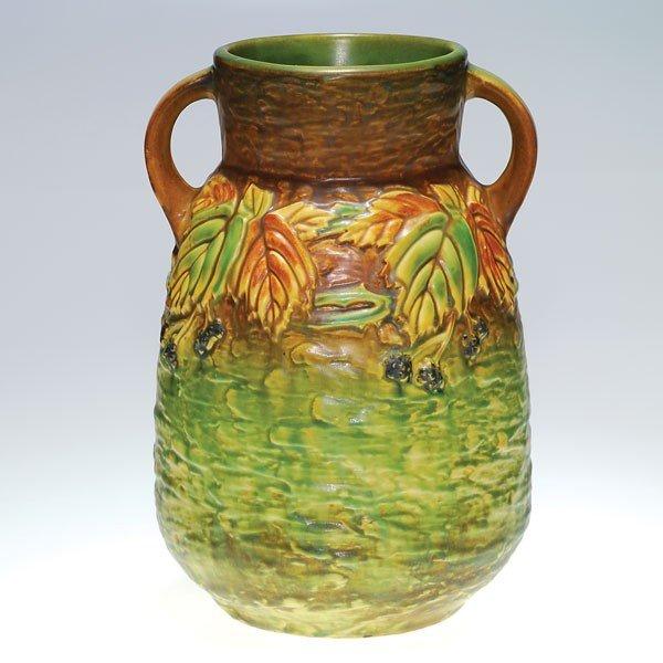 "1: Roseville Blackberry 12 3/8"" vase, silver label"