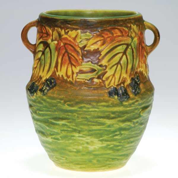 """2: Roseville 6"""" Blackberry vase, shape 572-6"""""""