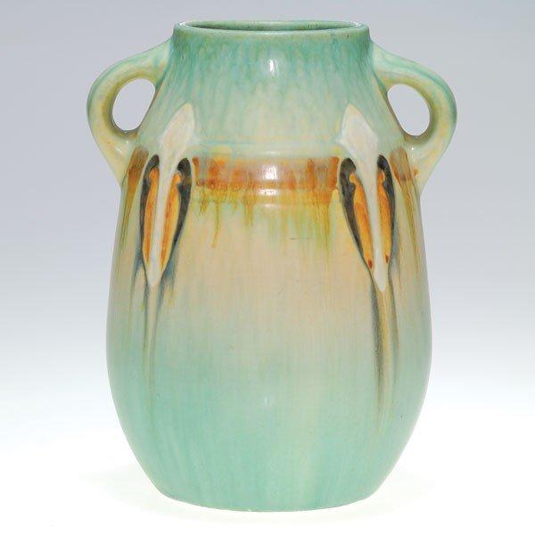 "3: Roseville blue Montacello vase, shape 561-7"""