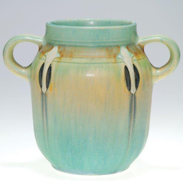 "4: Roseville blue Montacello vase, shape 500-6"""