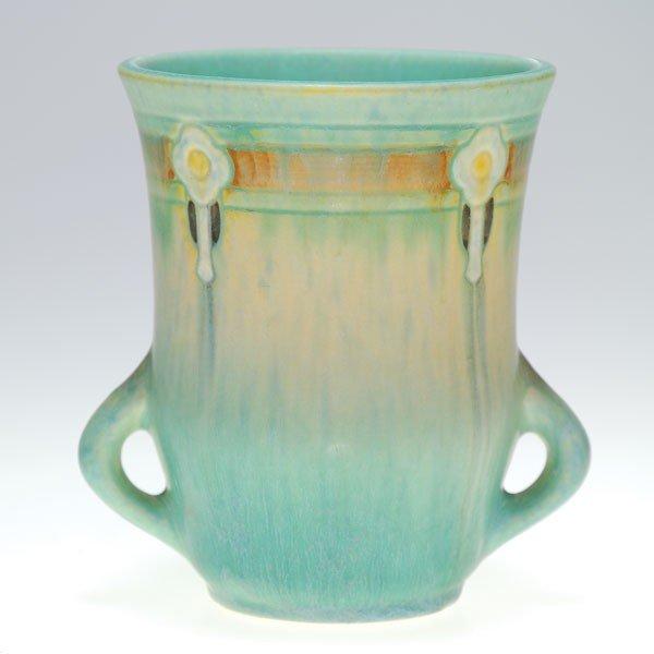 "5: Roseville blue Montacello vase, shape 559-5""."
