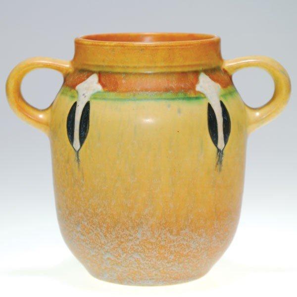 "6: Roseville tan Montacello vase, shape 560-6"""