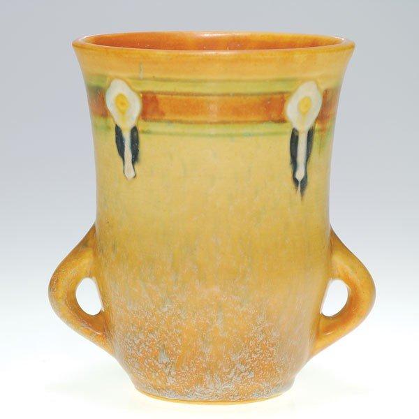 "7: Roseville Montacello 5 1/8"" vase in brown"