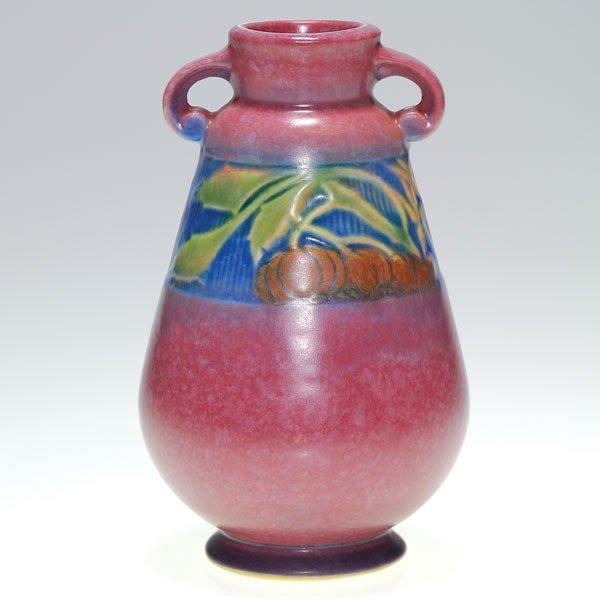 """13: Roseville pink Baneda 6 1/4"""" vase, shape 602-6"""""""