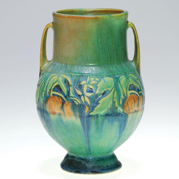 """14: Roseville Baneda vase in green, shape 589-6"""""""