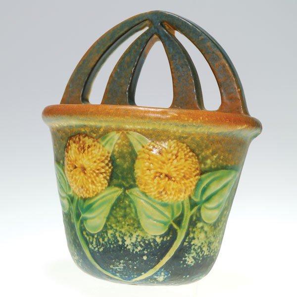 """16: Roseville Sunflower wall pocket, shape 1265-7"""""""