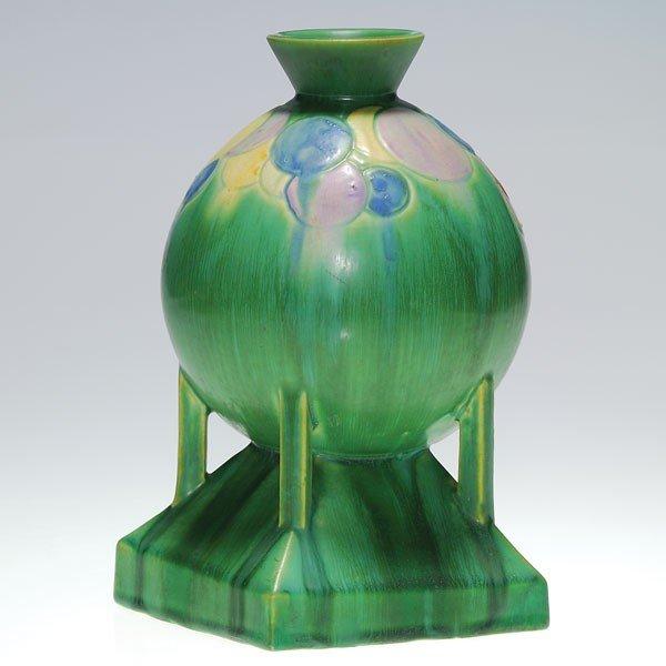 """22: Roseville Futura """"Balloon Globe"""" vase, shape 404-8"""""""