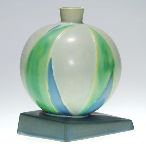 "23: Roseville Futura ""Bamboo Leaf Ball"" vase, shape 387"