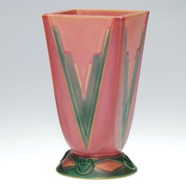 """24: Roseville Futura vase, Red V, shape 399-7"""""""