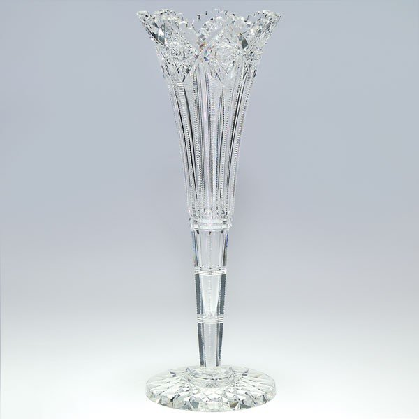 "644: Cut Glass trumpet vase, 14"", stamp mark Hawkes"