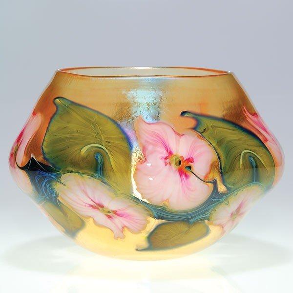 676: Charles Lotton Sunset Multi Floral bowl, 1988,7 3/