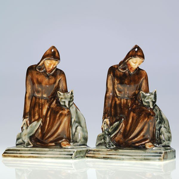 1002: Pair Rookwood St. Frances bookends, 1945, 7 3/8""